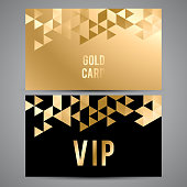Vector VIP premium invitation cards. Black and golden design. Triangle decorative patterns.