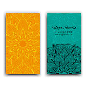Cards template for yoga studio. Isolated vector editable pattern with mandala on front and back side cards or flyer.