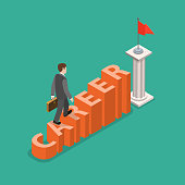 Career development flat isometric vector concept. Businessman is climbing to the goal by the stairs that look like the word CAREER.