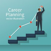 Career planning. Businessman draws graph of growth standing at stairs steps. Concept of career growth. Vector illustration flat design. Isolated on background.