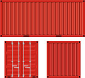 cargo container for shipping and transportation work isolated on white background. vector illustration in flat design.