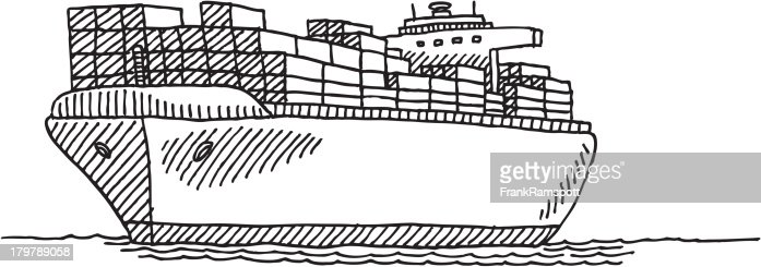 Line Drawing Ship : Cargo container ship drawing vector art getty images