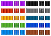 Cargo container multicolor set. Vector illustration, isolated on white