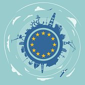 Circle with sea shipping and travel silhouettes. Objects located around the circle. Flag of the European Union in the center of circle. Cloudscape with airplanes