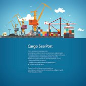 Sea Port, Unloading of Cargo Containers from the Container Carrier, Cranes in Port Load Containers on the Container Ship or Unload, Poster Brochure Flyer Design, Vector Illustration