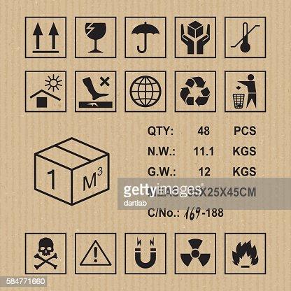 Cargo symbols on cardboard texture : stock vector