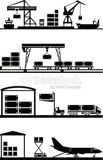 Cargo Terminals Icon Set stock vector - Thinkstock