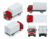 Cargo Truck transportation. Fast delivery or logistic transport. Easy color change. Template vector isolated on white View front, rear, side, top and isometric.