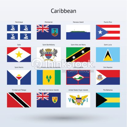 caribbean flags collection vector art thinkstock. Black Bedroom Furniture Sets. Home Design Ideas