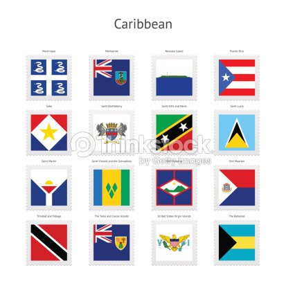 caribbean postage stamp flags collection vector art thinkstock. Black Bedroom Furniture Sets. Home Design Ideas