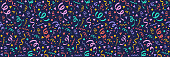 Carnaval Party - design of seamless texture and serpentines. Vector