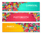 Horizontal Banners with Carnival Flat Icons in Circles. Celebration Festive Background. Vector Illustration. Masquerade Ball Concept. Funfair funny tickets.
