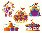 Set of vector illustrations of carnival circus icons with tent, carousels, flags isolated on white background.Print, design element.
