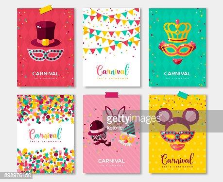 Carnaval coloré affiches ensemble, flyer ou invitation design : Clipart vectoriel