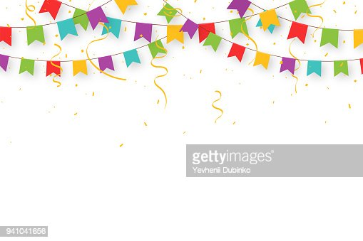 Guirnalda de carnaval con banderas, confeti y cintas. Banderines de fiesta colorida decorativa para la celebración de cumpleaños, festival y Feria de decoración. Fondo de vacaciones con banderas que cuelgan : Arte vectorial