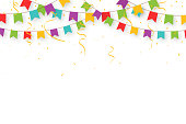 Carnival garland with flags, confetti and ribbons. Decorative colorful party pennants for birthday celebration, festival and fair decoration. Holiday background with hanging flags. Vector