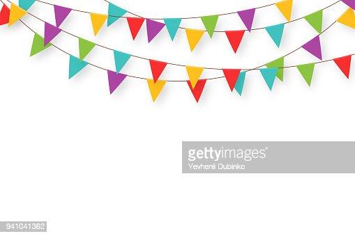 Guirnalda de carnaval con banderas. Banderines de fiesta colorida decorativa para la celebración de cumpleaños, festival y Feria de decoración. Fondo de vacaciones con banderas que cuelgan : Arte vectorial