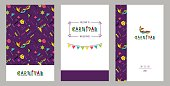 Carnival invitation cards in 80s retro style. Mardi Gras Party Posters. Vector flat illustration