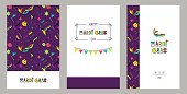 Carnival invitation cards in 80s style. Mardi Gras Party Posters. Vector flat illustration