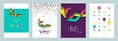 Carnival invitation cards. Masquerade Party Posters. Vector flat illustrationCarnival invitation cards. Masquerade Party Posters. Vector flat illustration