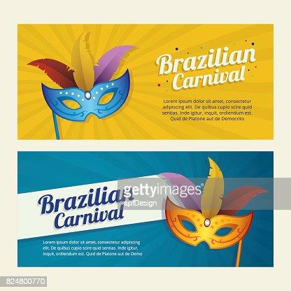 Karneval Fasching Hintergrund Einladung Flyer Mit Maske Vektorgrafik