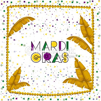 Carnival Mardi Gras Poster With Yellow Necklace Frame With Feathers ...