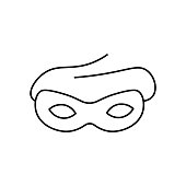 Carnival mask line icon, outline vector sign, linear style pictogram isolated on white. Masquerade symbol, logo illustration.