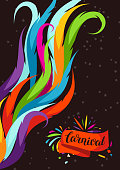 Carnival party background with colorful decorative feathers.