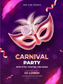 Carnival party template or flyer design with realistic mask on purple background.