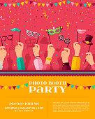 Carnival photo booth party poster, flyer or invitation design. Vector illustration. Hands holding funny carnival masks, confetti. Place for your text message.