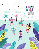 Carnival Poster, Banner, Brochure with Dancing Character People. Masquerade Party Elements with Masks and Festive Symbols. Vector illustration