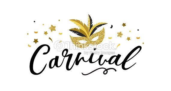 Carnival Poster Banner With Golden Chic Party Elements Mask Confetti
