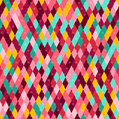 Carnival Seamless Pattern with Colorful Rhombus and Dots. Vector illustration.