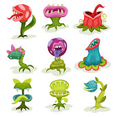 Carnivore plants set, colorful fantastic malicious killer flowers with teeth vector Illustrations isolated on a white background.