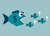 Big fish with a dollar badge wants to eat small fish