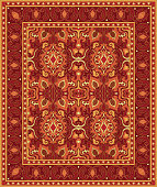 Colorful template for carpet, textile. Oriental floral pattern with frame.