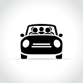 Illustration of carpooling icon on white background
