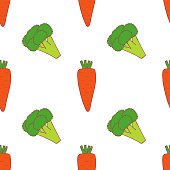 Carrot and broccoli  seamless pattern for wallpaper design. Fresh ripe color food. Organic healthy vegetable.  Raw, vegan, vegetarian food. Cartoon pattern on white backdrop. Vector doodle design.
