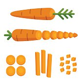 Different carrot cuts: sliced, cubed and cut in matchstick shape. Cooking illustration in modern flat vector style.