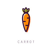 Carrot logo. Line icon. Simple and clean style. Vector illustration
