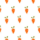 Carrot simple repeat seamless vector pattern. Food background.