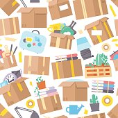 Carrying boxes seamless pattern warehouse shipping container. Moving packing transportation service wallpaper. Deliver distribution package industry vector illustration.