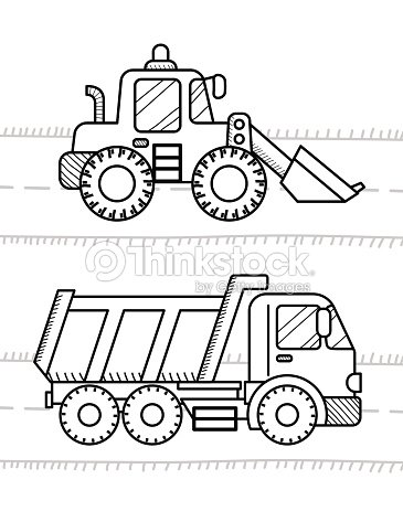 Cars And Vehicles Coloring Book For Kids Dump Truck Excavator Vector Art