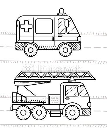 Coches Vehículos Para Colorear Libro Para Sus Niños Ambulancia ...