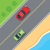 Cars driving on the road along the coast and the sea. Road trip top view. Color Flat style vector illustration background for web design or print