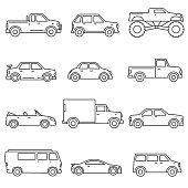 Cars, icons set. Means of transport, thin line design. Different types of car. Lines with editable stroke. isolated vector illustration