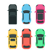 Cars top view. Colorful different vehicles on white.
