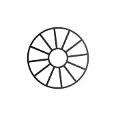 Cart Wheel icon. Vector illustration isolated on white .