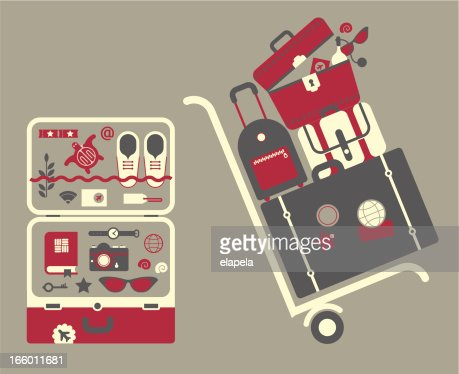 Cart with suitcases : Vector Art