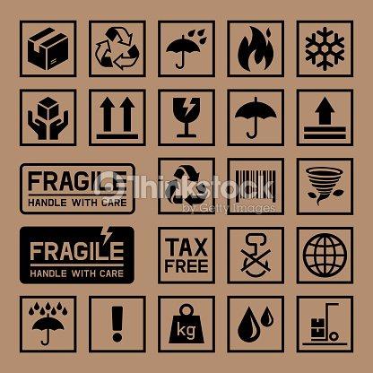 Carton Cardboard Box Icons. : stock vector